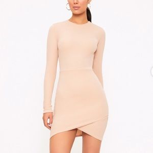 PrettyLittleThing Nude Long Sleeve Bodycon Dress